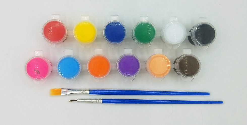 5ML Acrylic Paint Set- 12 Colors with Flat and Detail Brush