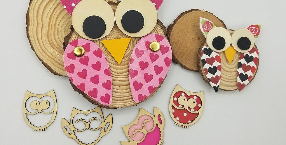 Natural Wood Owl Craft Kit, Pink Decoupage Kit