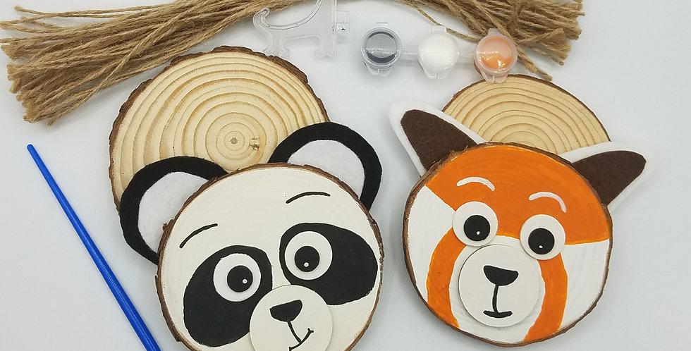 DIY Panda and Red Panda Wood Slice Painting Craft Kit
