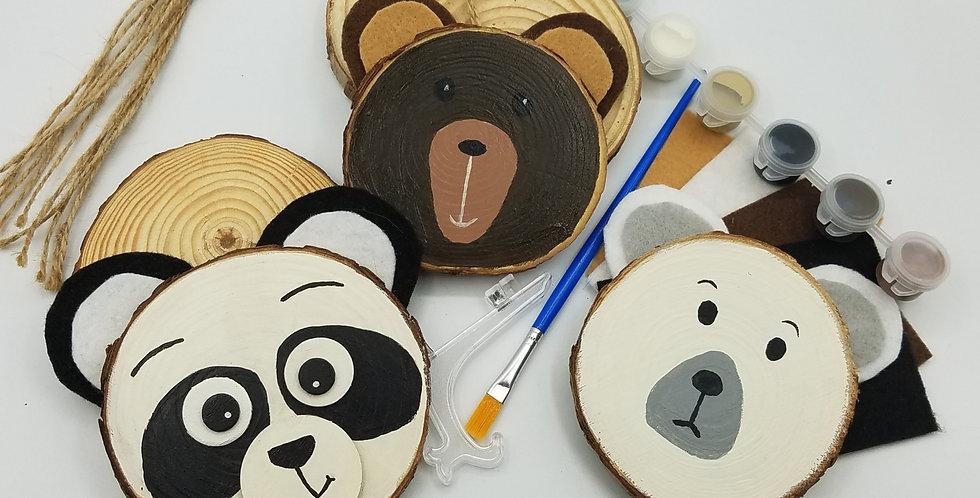 DIY 3 Bears Wood Slice Painting Craft Kit