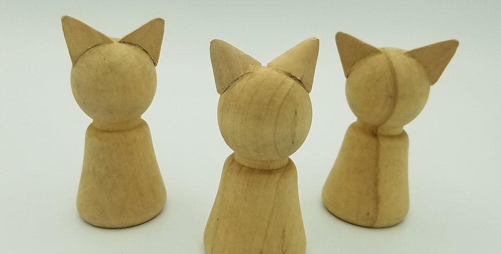 3 Unfinished Wood Peg Doll Animals