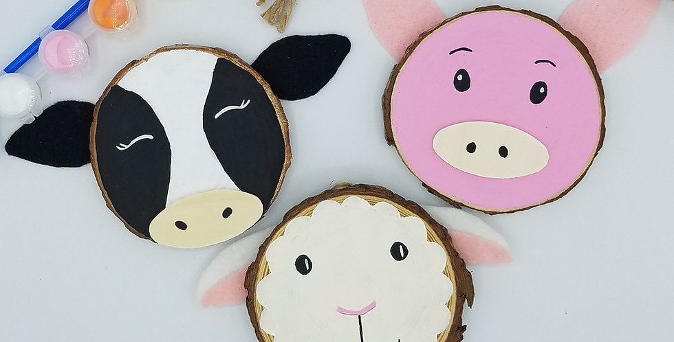 DIY Farm Animals Wood Slice Painting Craft Kit for Beginners