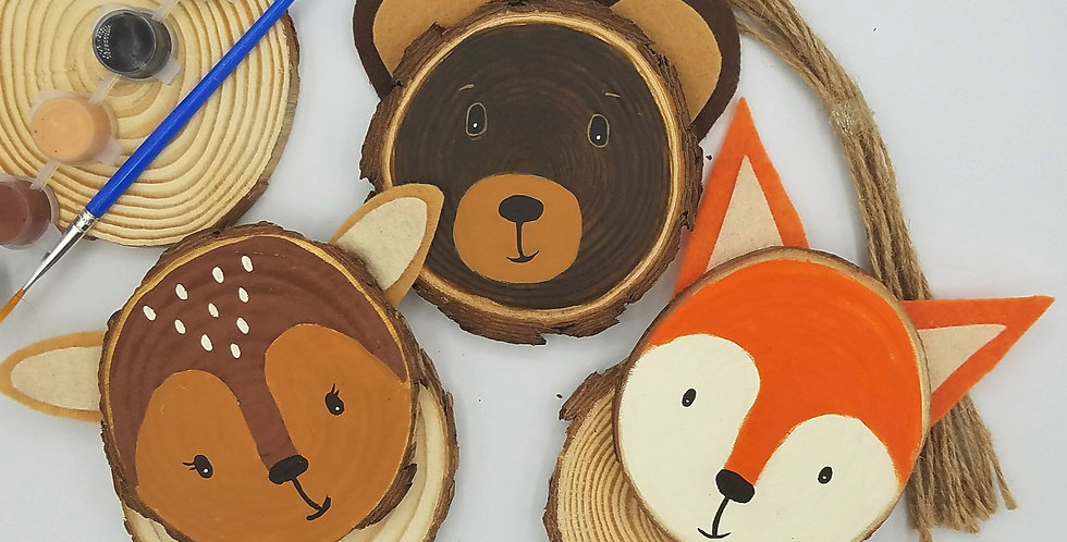 NEW DIY Woodland Creatures Wood Slice Painting Craft Kit