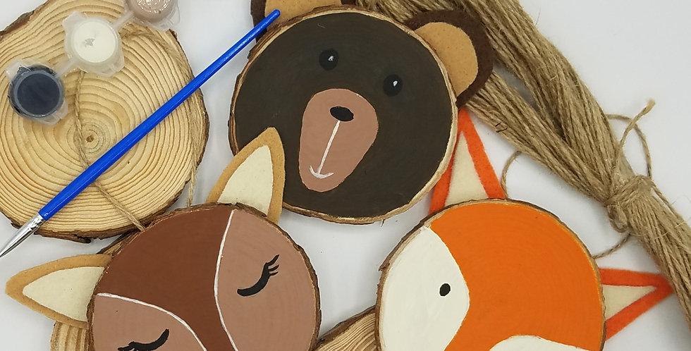 DIY Woodland Creatures Natural Wood Ornaments