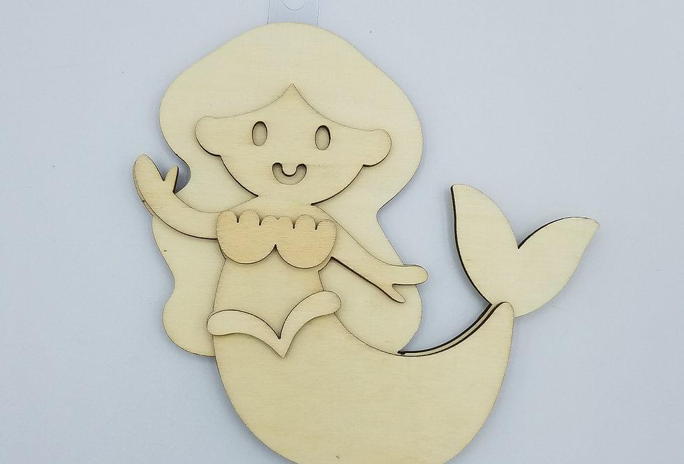 "6"" Unfinished Mermaid, Wooden Mermaid Shape"