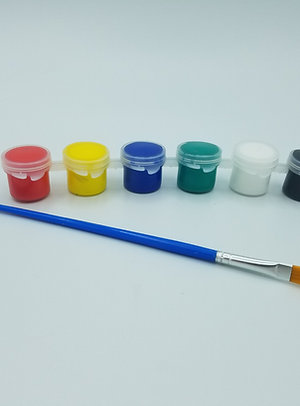 5ml Acrylic Paint Pots with Brush, Primary