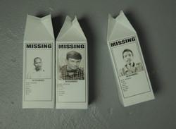 Missing - detail shot milk cartons