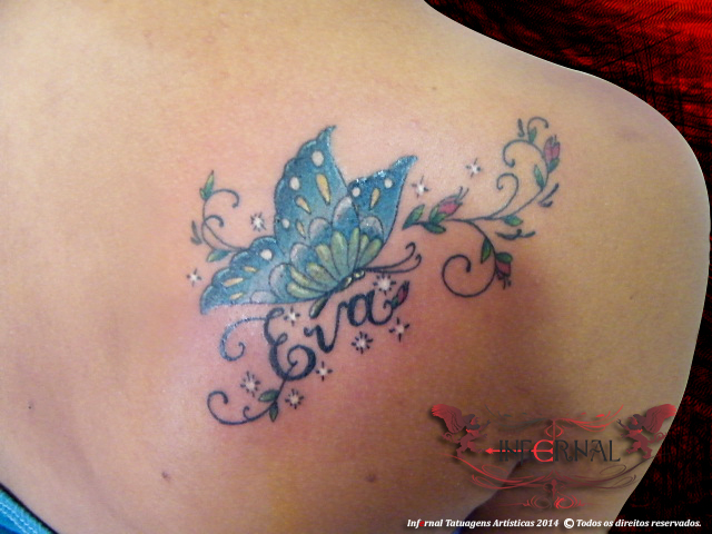 Escrita, ramo e borboleta