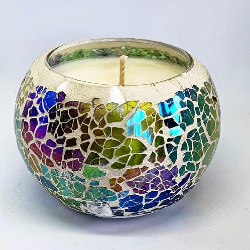 Medium Mosaic - Emerald Green & Pink Kaleidoscope Crackle Candle