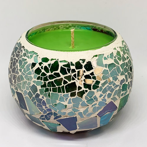 Large Mosaic - Emerald Green & Red  Crackle Candle