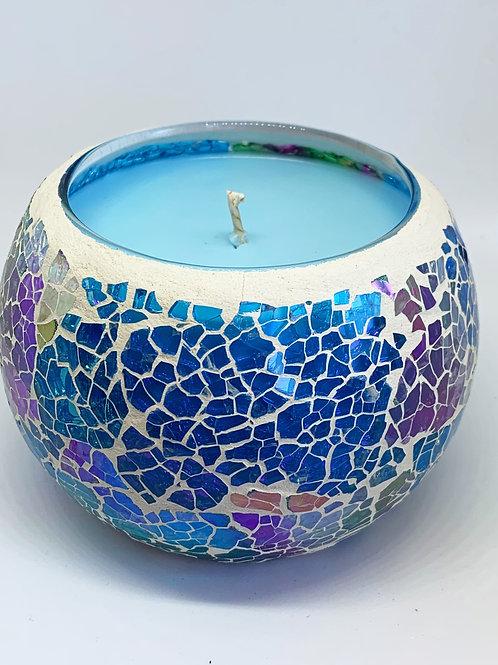 Large Mosaic - Rainbow Kaleidoscope Crackle Candle