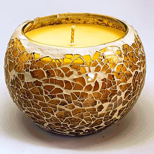 Medium Mosaic - Ivory Crackle Candle