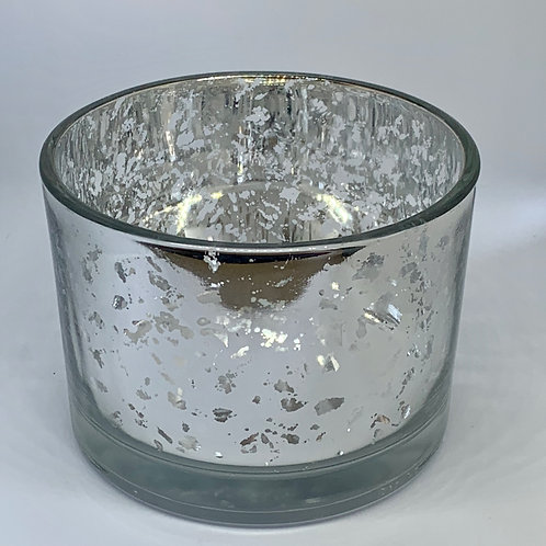 Large Silver Sparkle Candle