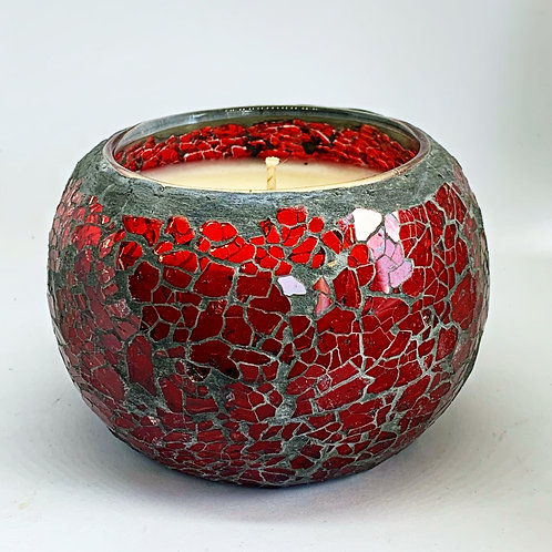 Large Mosaic - Red Reflections Crackle Candle