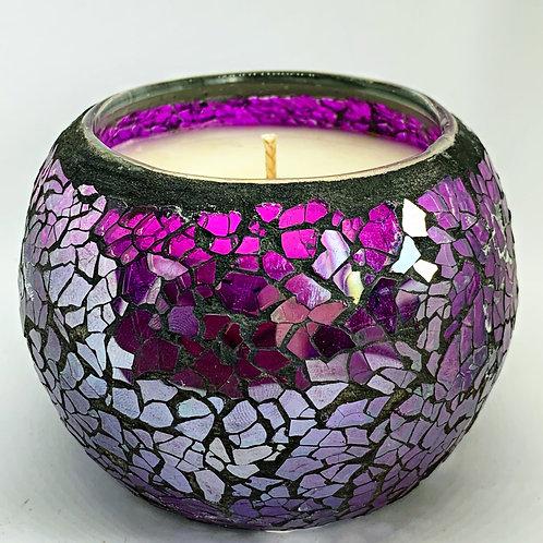 Large Dark Purple Mosaic Candle