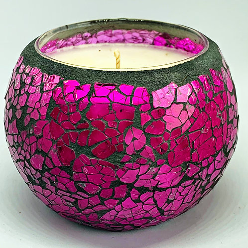 Large Mosaic - Mosaic - Light Purple Crackle Candle