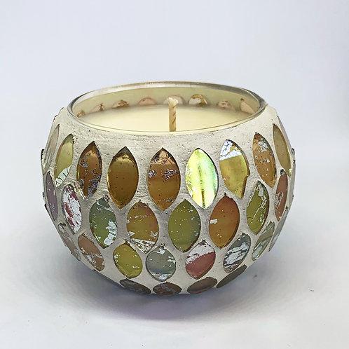Medium Mosaic - Ivory Crackle Soy Candle