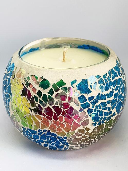 Large Mosaic - Sparkling Rainbow Crackle Candle