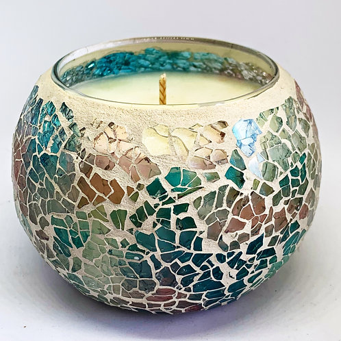 Large Mosaic - Soft Blue & Pink Crackle Candle
