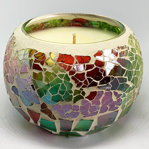 Large Mosaic - Emerald Green & Pink Kaleidoscope Crackle Candle
