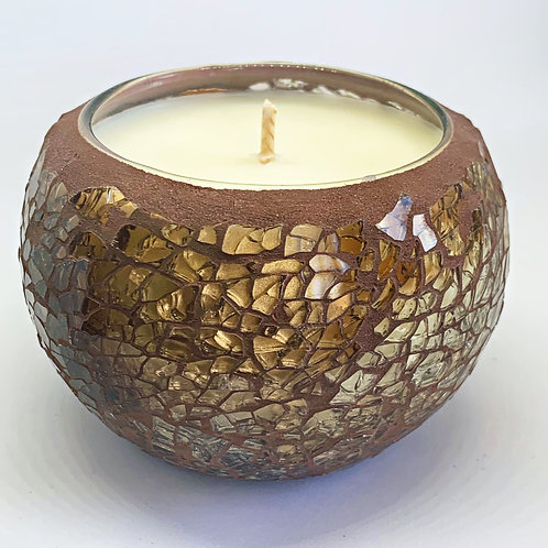 Medium Mosaic - Amber Crackle Candle