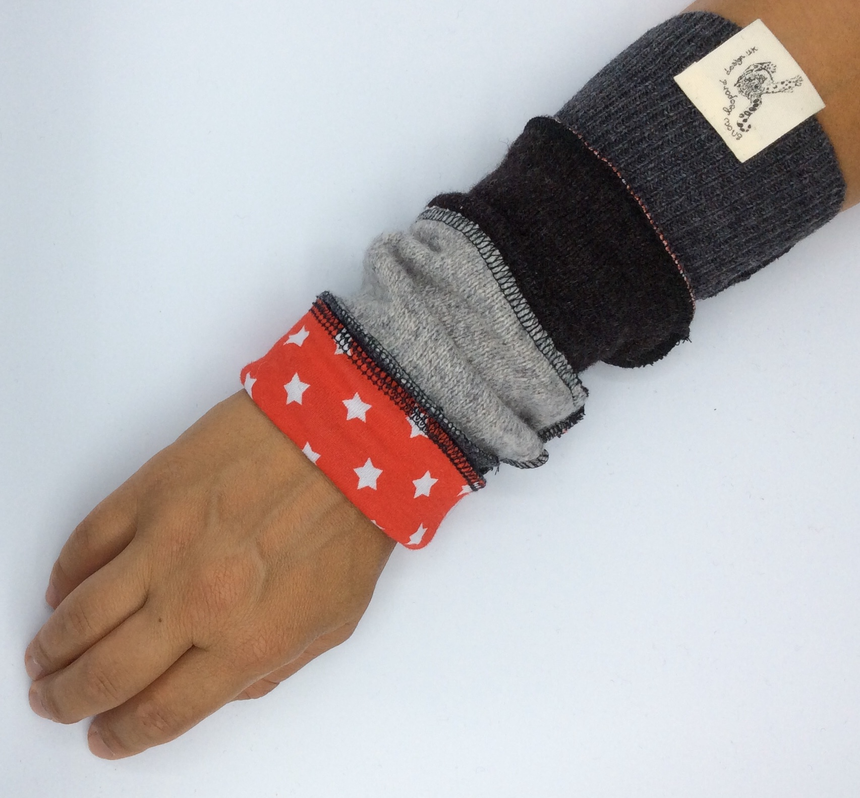 wrist warmers from upcycled wool