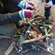 upcycled fingerless gloves -making a fir