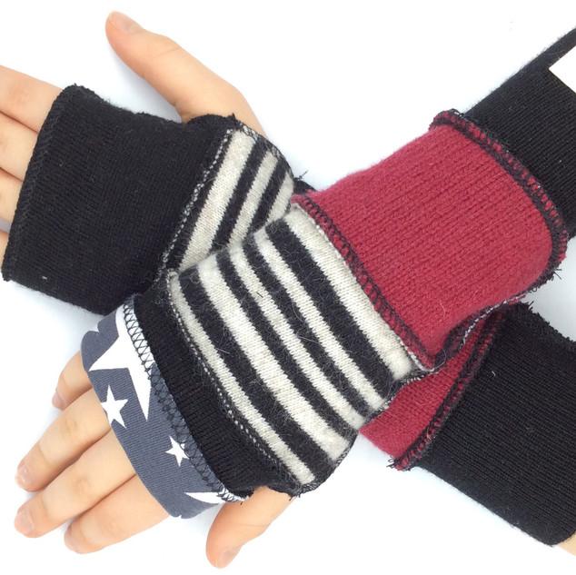 upcycled fingerless gloves - kids burgun