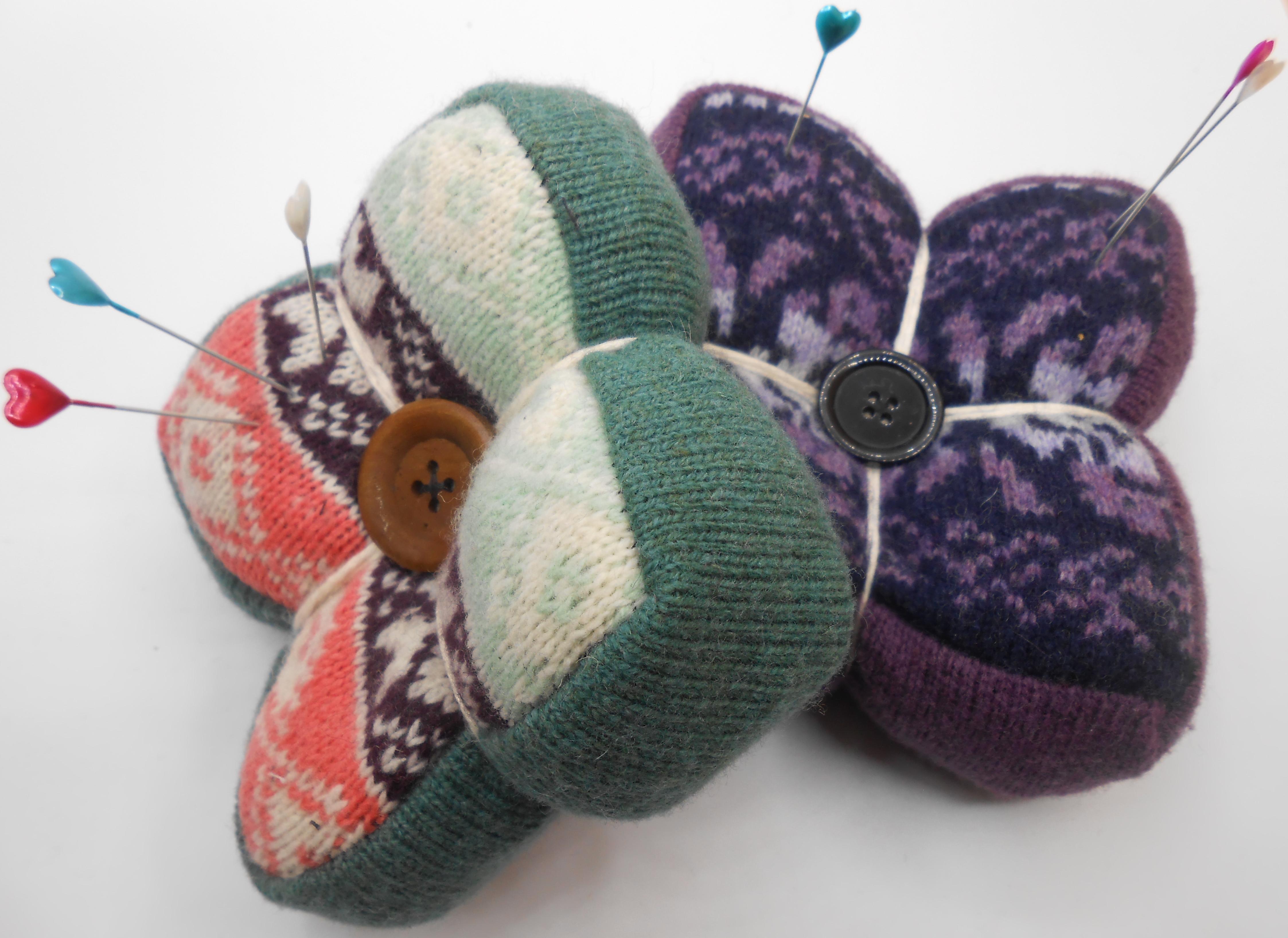 upcycled wool pincushions