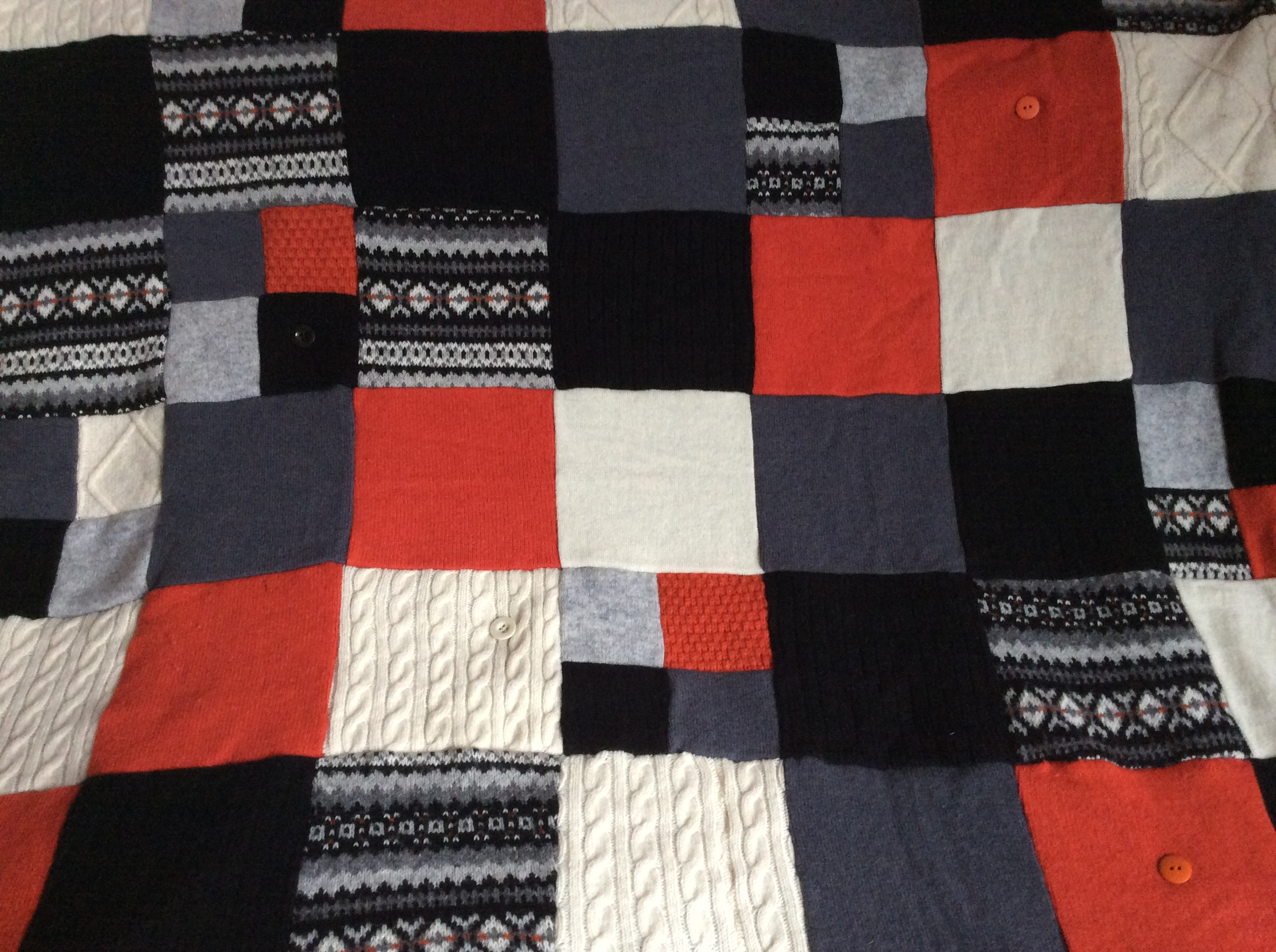 upcycled woollen quilt