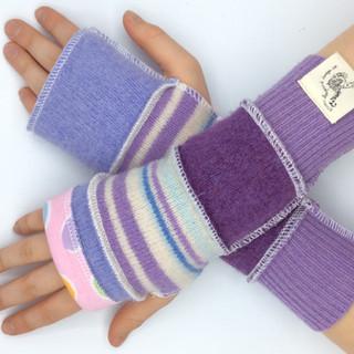 upcycled woollen gloves - kids purple po