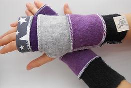 upcycled fingerless gloves - kids purple