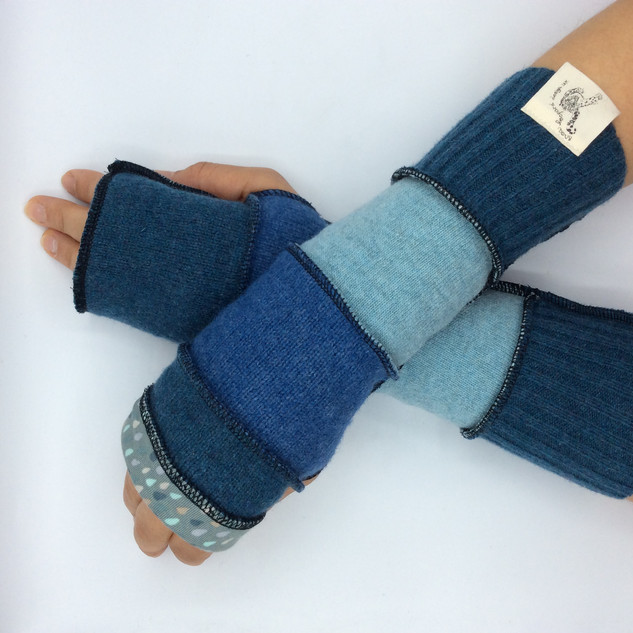 upcycled fingerless gloves - ladies blue