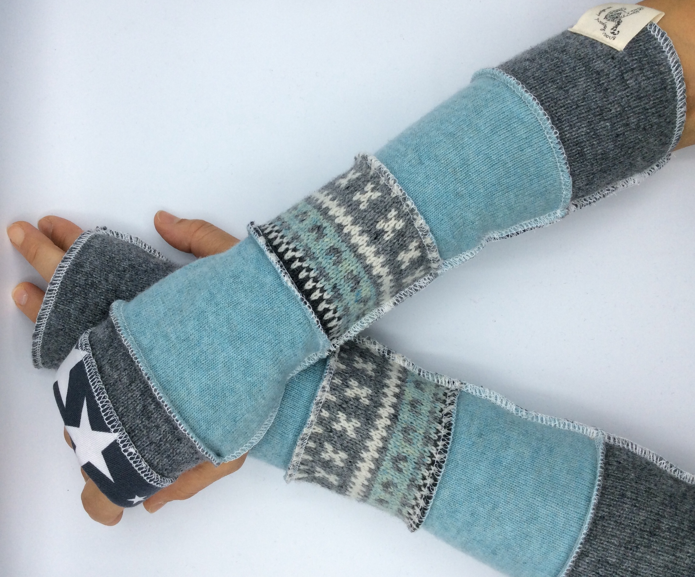 upcycled fingerless gloves - duckegg and