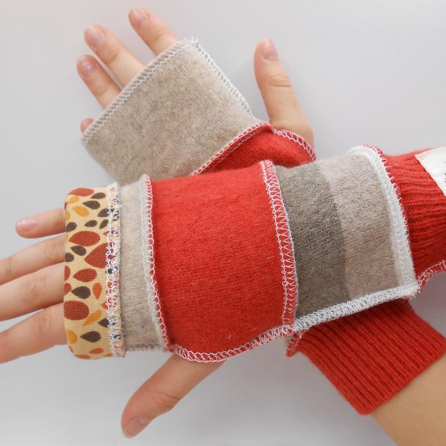 upcycled fingerless gloves - kids orange
