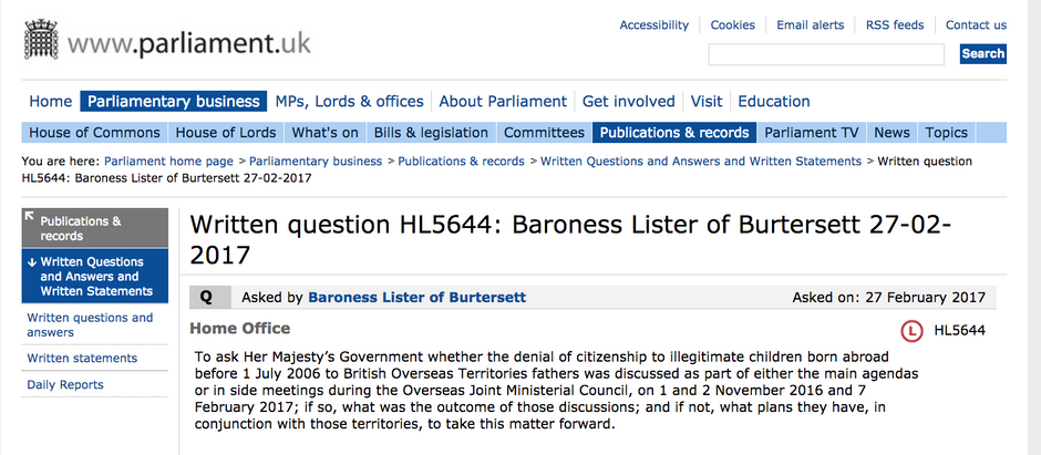 Baroness Lister: Latest Question to Home Office