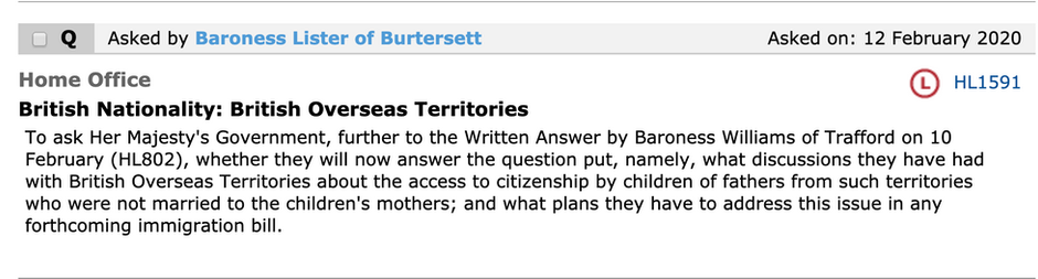 Follow up Questions from Baroness Ruth Lister