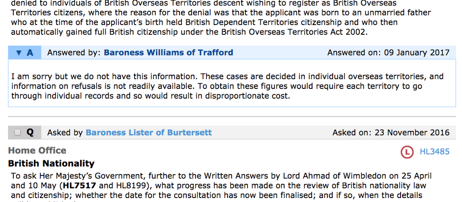 British Nationality Questions and Government Answers HL3485 & HL4079 House of Lords