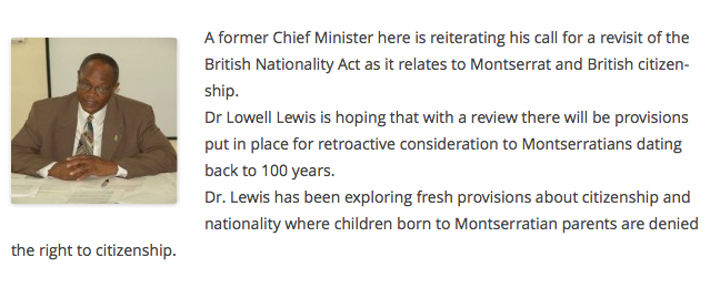 Montserrat Historical Discrimination News Article by Dr. Lowell Lewis, former Chief Minister