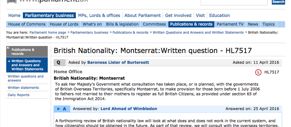 British Nationality Question and Government Answer HL7517 House of Lords, by Baroness Lister.