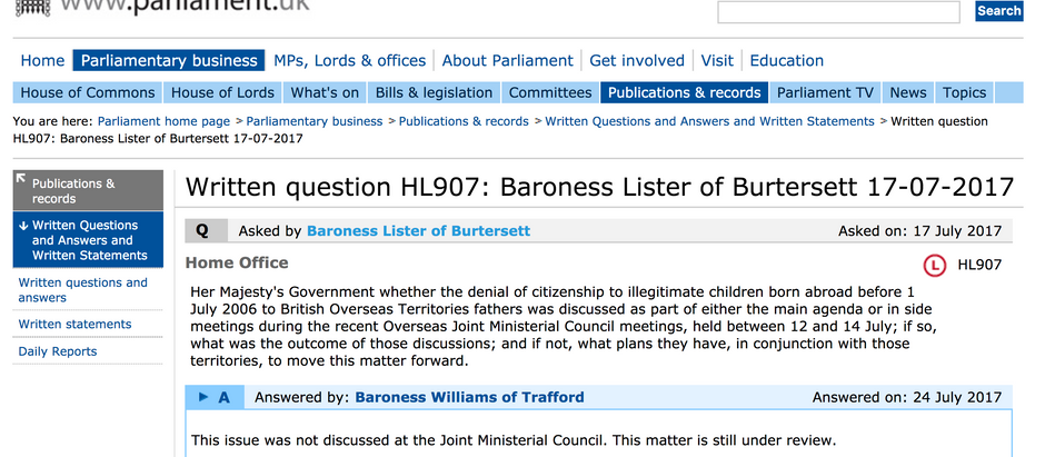Latest HMG Question & Answer from Home Office submitted by Baroness Lister