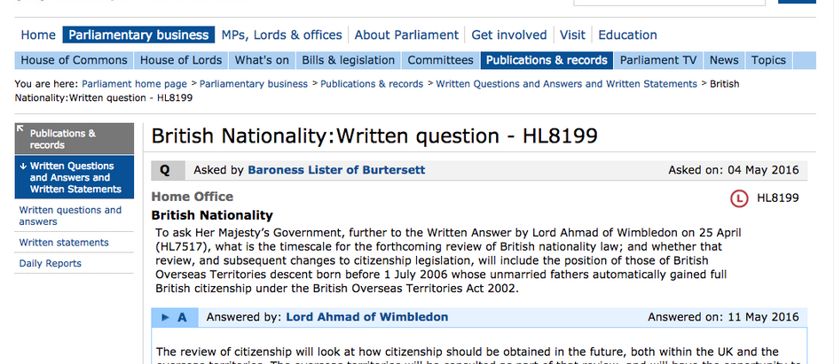 British Nationality Question and Government Answer HL8199 House of Lords by Baroness Lister.