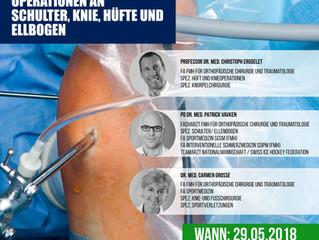 Vortrag: Arthroskopische Operationen an Schulter, Knie, Hüfte und Ellbogen - 29.5.2018 Adus Klinik D