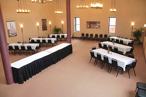Big empty room with nice tables and chairs