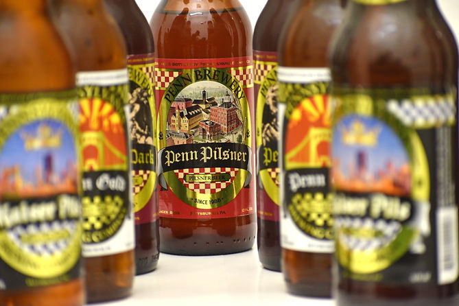 Photo of a variety of Penn Brewery beer bottles