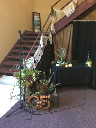 Eisenhalle stairs, microphone, and small table