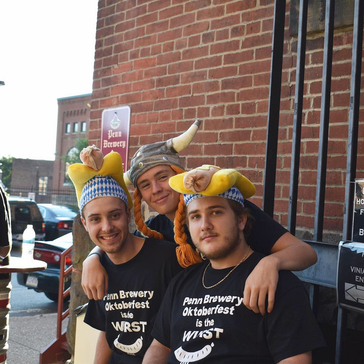 Group of guys with funny hats