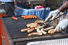 Grill with sausages