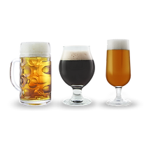 light, dark, and medium beers in different glasses