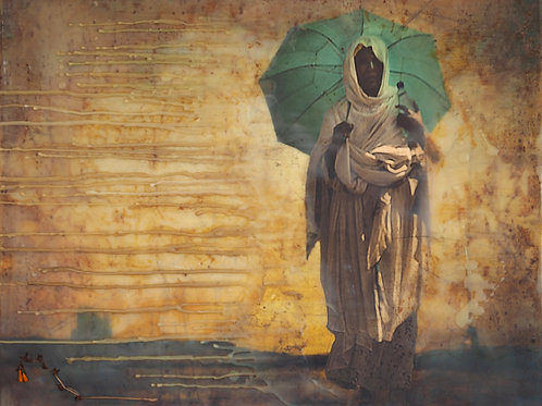 Woman with Turquoise Umbrella